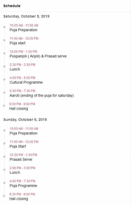 Durga Puja Schedule Helsinki 2019