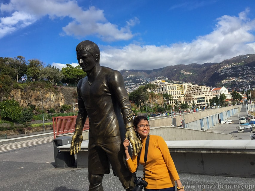 Cristiano Ronaldo statue in Funchal Madeira in front of CR7 museum in Portugal