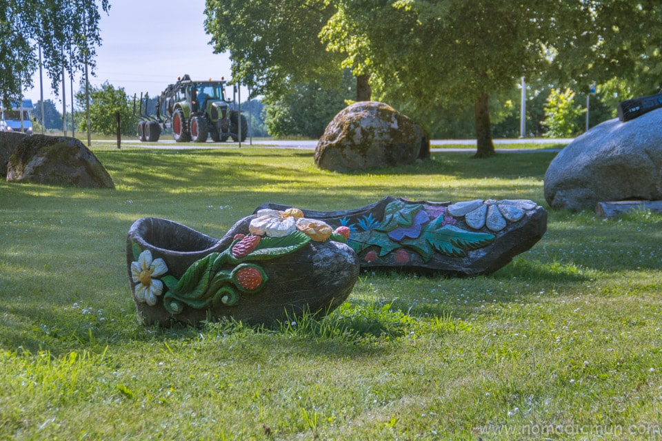 large wooden shoes in Muhu
